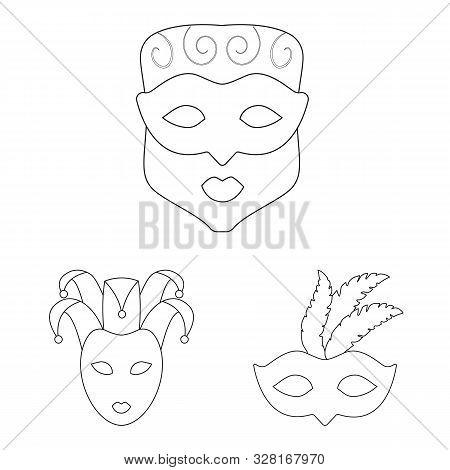 Vector Design Of Masquerade And Mystery Icon. Set Of Masquerade And Festival Vector Icon For Stock.