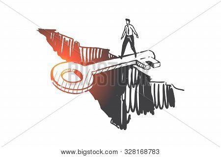 Support, Help, Anti Crisis Concept Sketch. Man Crossing Gap On Key Bridge, Risk Management Strategy,