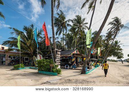 Maafushi Island, Maldives - November 17, 2017: Maafushi Water Sport Store On The Maafushi Island In