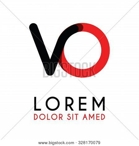 Initial Letter Vo With Red Black And Has Rounded Corners