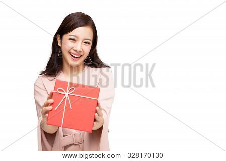 Happy Beautiful Asian Woman Smile With Red Gift Box Isolated On White Background. Teenage Girls In L
