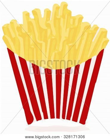 French Fries Vector On White Background Roast, Salty, Set, Snack.