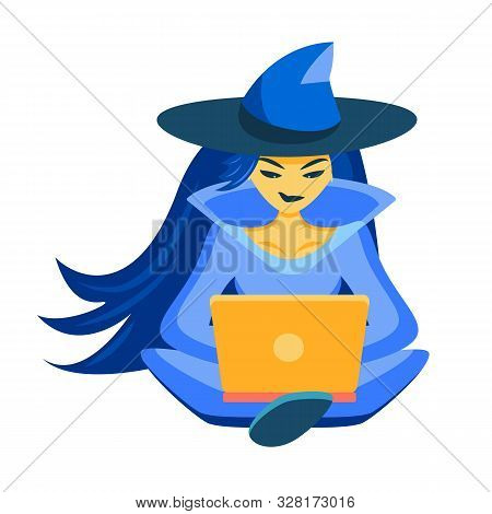 The Sorceress Sits In The Lotus Position And Looks At The Laptop. The Witch Makes An Online Search A