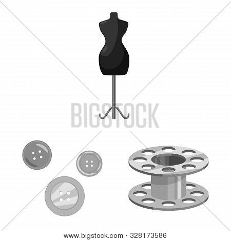Vector Design Of Dressmaking And Textile Symbol. Set Of Dressmaking And Handcraft Stock Symbol For W
