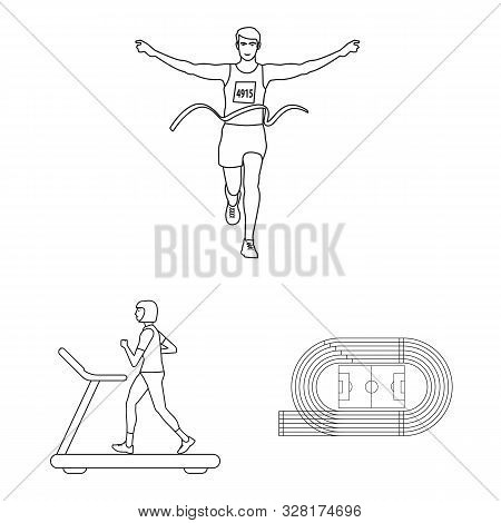 Vector Illustration Of Exercise And Sprinter Symbol. Collection Of Exercise And Marathon Vector Icon