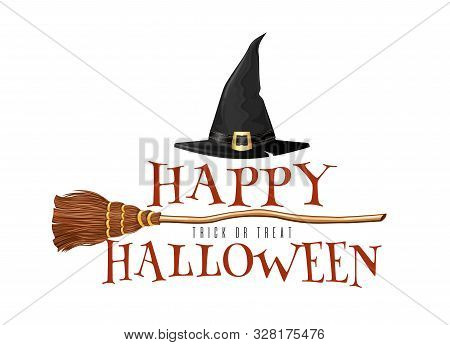 Halloween Logo Design With Witches Broom And Triangular Witch Hat Isolated On White. Vector Illustra