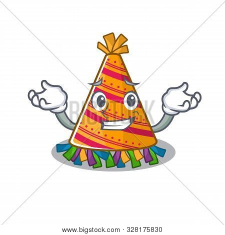 Grinning Party Hat With In The Cartoon
