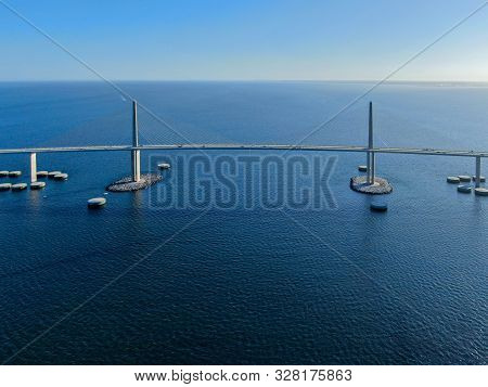 Aerial view of Sunshine Skyway, Tampa Bay Florida, USA. Big steel cable suspension bridge. poster