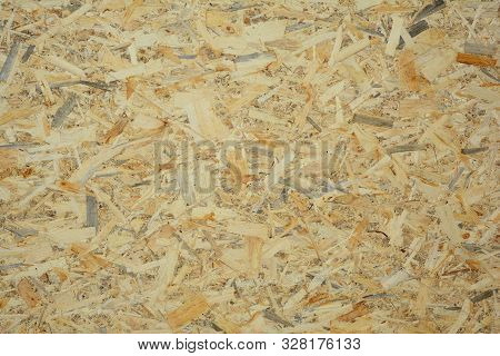 Oriented Strand Board (osb) Textured Background. Close Up On Osb Background.