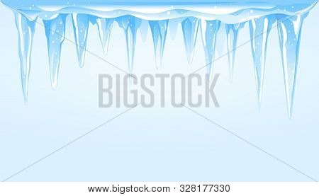 Blue Frozen Icicle Cluster Hanging Down On Top Of Blue Background, Big Quality Detailed Group Of Ici