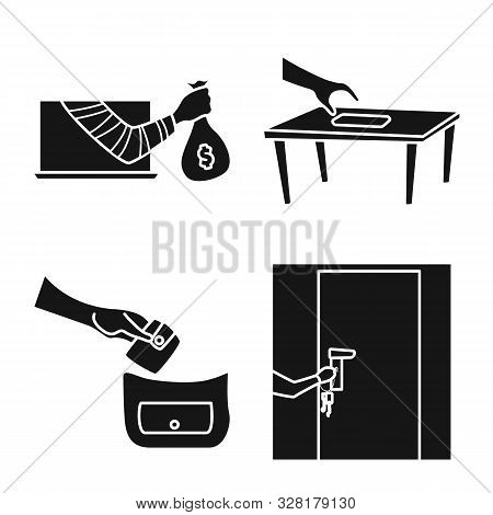 Vector Design Of Robber And Villain Logo. Collection Of Robber And Police Stock Vector Illustration.