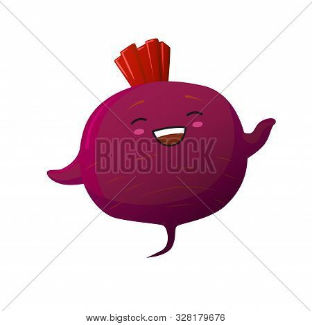 Cute Beet Character. Kawaii Smiling Vegetable. Vector Isolated On White Background