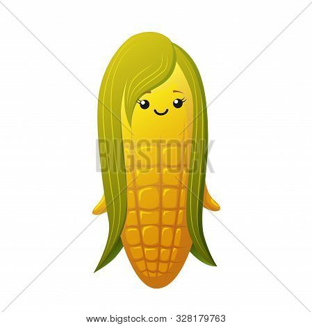 Cute Corn Girl Character. Kawaii Vegetable Vector Character Isolated On White Background
