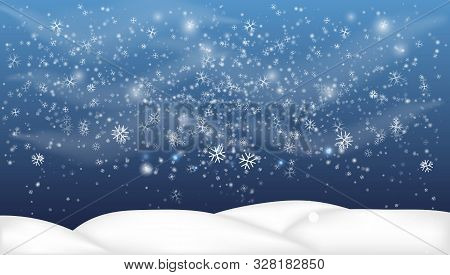 Christmas, Snowy Woodland Landscape. Holiday Winter Landscape For Merry Christmas. Winter Background