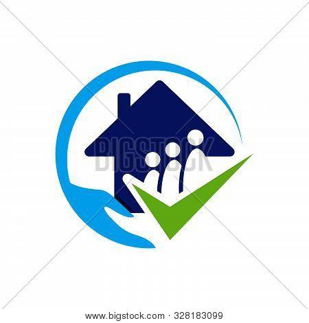 Nursing Home Logo Design Home Care Elderly Vector Illustrations