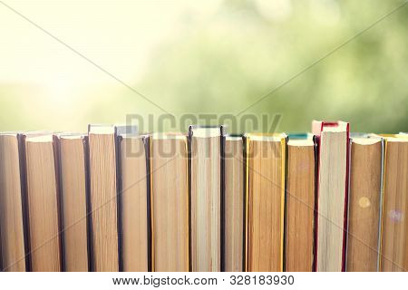 Best Books Home Library Background. Read Vintage Books In A Row. College Library Table. Vintage Book