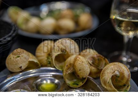 Escargots De Bourgogne - Grape Snails With Herbs Butter, Gourmet Traditional French Dish With Parsle