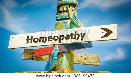 Street Sign the Direction Way to Homeopathy poster