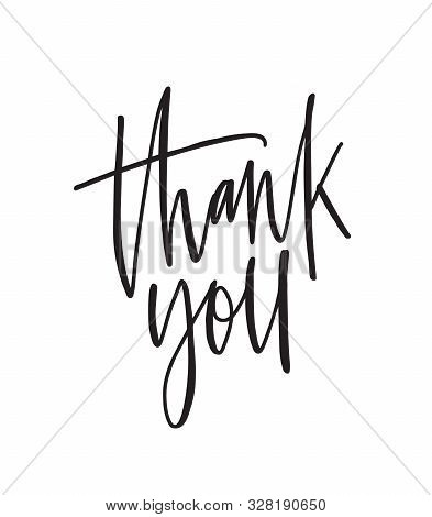 Thank You Ink Pen Vector Lettering. Thankfulness, Gratitude Expression, Polite Words Isolated On Whi