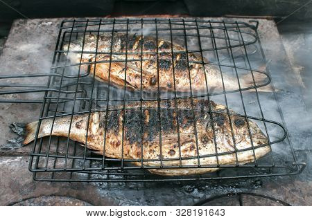 Gilt-head bream fish grilled on iron hot plate closeup poster