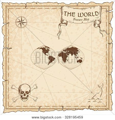 World Treasure Map. Pirate Navigation Atlas. Quartic Authalic Projection Interrupted Into Two Hemisp