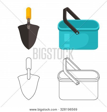 Isolated object of cleanup and household sign. Collection of cleanup and washing stock symbol for web. poster