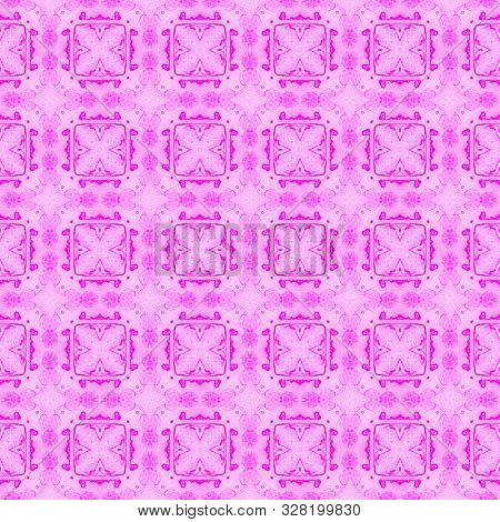 Pink checked allover seamless pattern. Hand drawn watercolor ornament. Alive repeating design. Surprising fabric cloth, swimwear design, wallpaper wrapping. poster