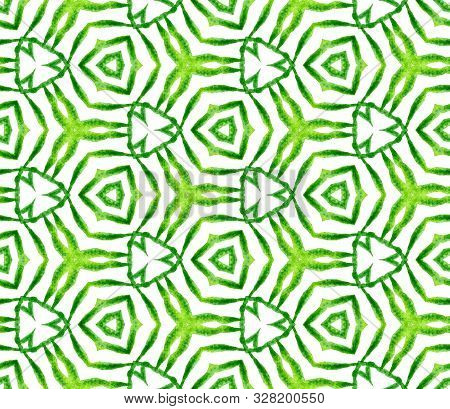 Green Geometric Foliage Seamless Pattern. Hand Drawn Watercolor Ornament. Quaint Repeating Tile. Wor