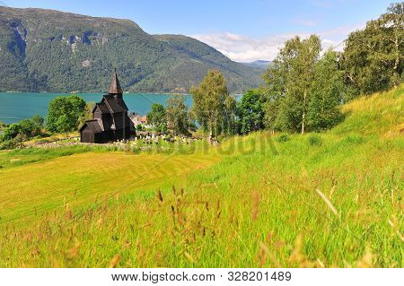 Beautiful Wooden Stave Church On Fjords