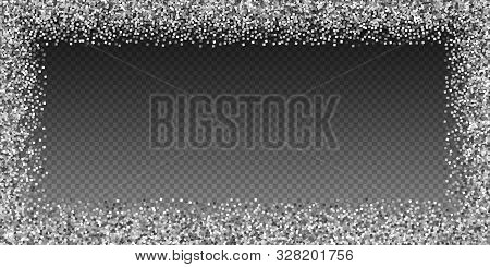 Silver Glitter Luxury Sparkling Confetti. Scattered Small Gold Particles On Transparent Background.