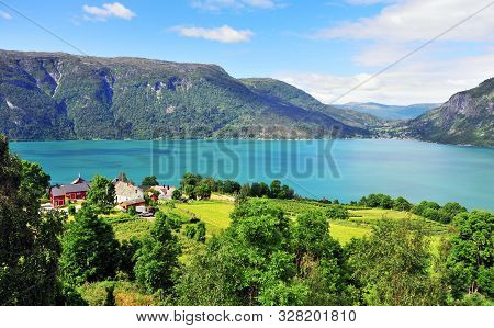 Top View Of Ornes Village On Fjord