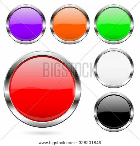Colored Buttons Set. Shiny 3d Glass Round Icons. Vector Illustration Isolated On White Background