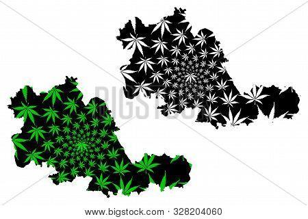 West Midlands (united Kingdom, England, Metropolitan County) Map Is Designed Cannabis Leaf Green And