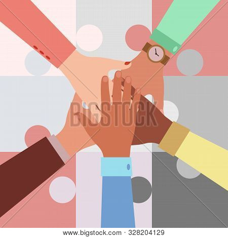 Hands Of Diverse Group Of People Putting Together On A Puzzle Background. Concept Of Cooperation, Un