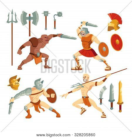 Gladiators Set, Ancient Roman Armored Spartan Warriors Fighting On Arena With Sword, Pitchfork And S