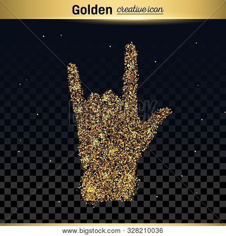 Gold Glitter Vector Icon Of Hand Rock Isolated On Background. Art Creative Concept Illustration For