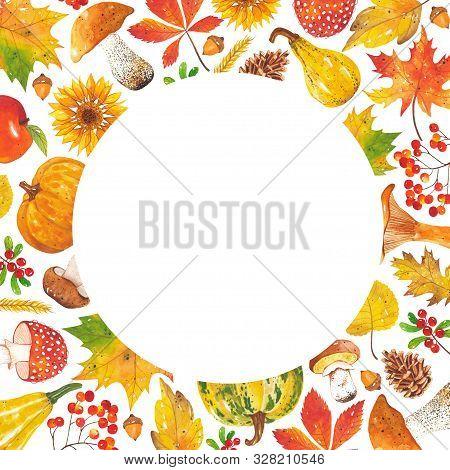 Watercolor Frame Of Autumn Leaves, Sunflowers, Mushrooms, Acorns, Cones, Pumpkins, Mountain Ash, Cra