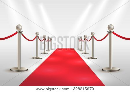 Red Carpet And Silver Barriers Realistic Vector. Vip Event, Luxury Celebration. Celebrity Party Entr
