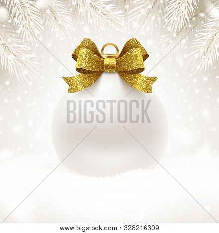 Christmas White Bauble With Glitter Gold Bow Ribbon And Copy Space For Your Greeting Or Message. Chr