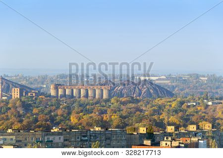 Industrial Landscape. Coal Processing Plant In The Donetsk City. Scenic View Of Slag Heap And Constr