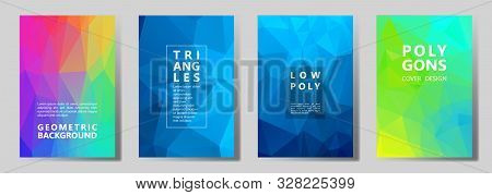 Facet Low Poly Mosaic Cover Page Layouts Vector Graphic Design Set. Crystal Texture Low Poly Pattern