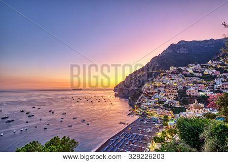 Positano On The Italian Amalfi Coast After Sunset