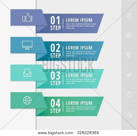 Vector Infographic Flat Template Arrows For Four Diagrams, Graph, Presentation. Business Concept Wit