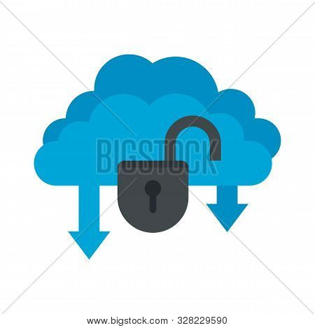 Unlock Data Cloud Icon. Flat Illustration Of Unlock Data Cloud Vector Icon For Web Design