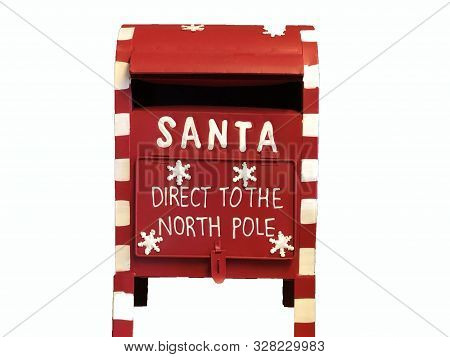 Red Santa Claus Mailbox With Text Direct To The North Pole Isolated On White