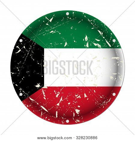 Kuwait - Round Metallic Scratched Flag With Six Screw Holes In Front Of A White Background