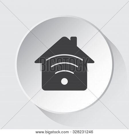 House With Signal - Simple Gray Icon On White Button With Shadow In Front Of Light Gray Square Backg
