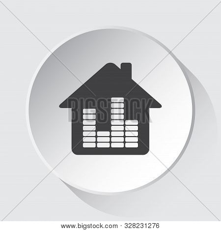 House With Equalizer - Simple Gray Icon On White Button With Shadow In Front Of Light Gray Square Ba