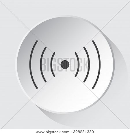Sound Or Vibration Symbol - Simple Gray Icon On White Button With Shadow In Front Of Light Gray Squa