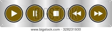 Gold, White Round Music Control Buttons Set - Five Buttons On A Metal Plate With Rounded Corners Wit